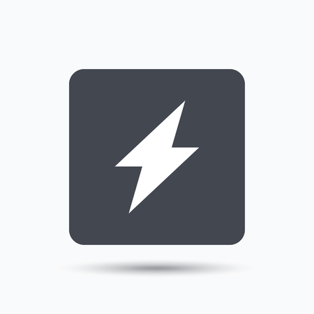 lightning speed: Lightning icon. Electricity energy power symbol. Gray square button with flat web icon. Vector