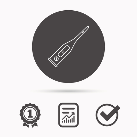 termometer: Electronic thermometer icon. Measurement tool sign. Temperature control symbol. Report document, winner award and tick. Round circle button with icon. Vector Illustration