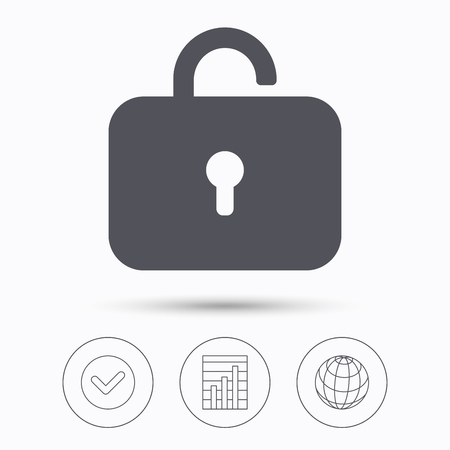 private access: Lock icon. Privacy locker sign. Private access symbol. Check tick, graph chart and internet globe. Linear icons on white background. Vector