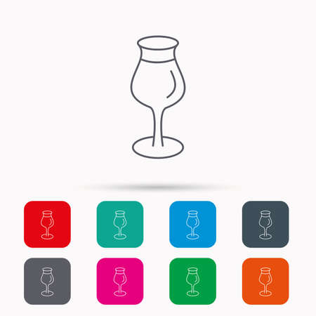 Wine glass icon. Goblet sign. Alcohol drink symbol. Linear icons in squares on white background. Flat web symbols. Vector Illustration