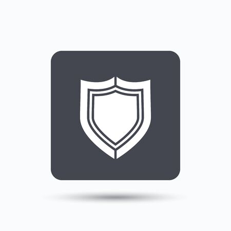 honor guard: Shield protection icon. Defense equipment symbol. Gray square button with flat web icon. Vector Illustration