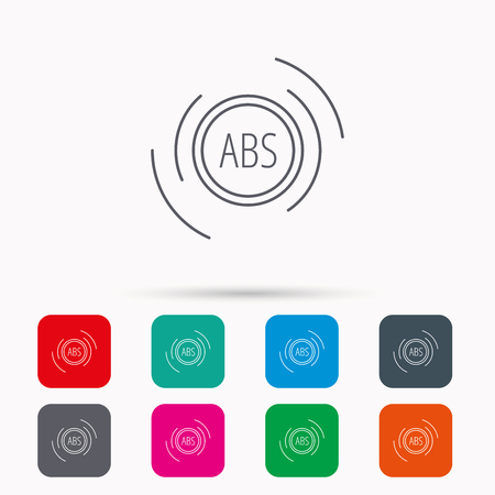 malfunction: ABS icon. Brakes antilock system sign. Linear icons in squares on white background. Flat web symbols. Vector Illustration