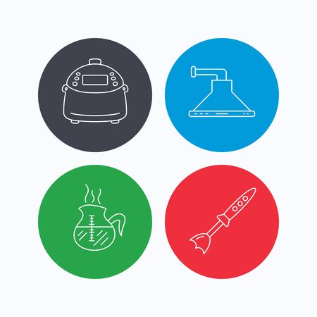warmer: Coffee, kitchen hood and blender icons. Multicooker linear sign. Linear icons on colored buttons. Flat web symbols. Vector