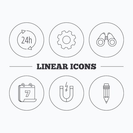 24h: 24h service, pencil and magnet icons. Search linear sign. Flat cogwheel and calendar symbols. Linear icons in circle buttons. Vector