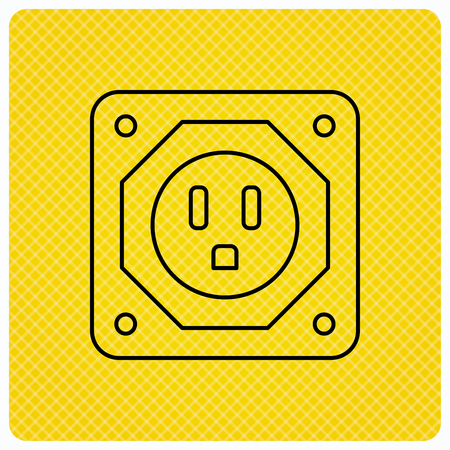 adapter: USA socket icon. Electricity power adapter sign. Linear icon on orange background. Vector