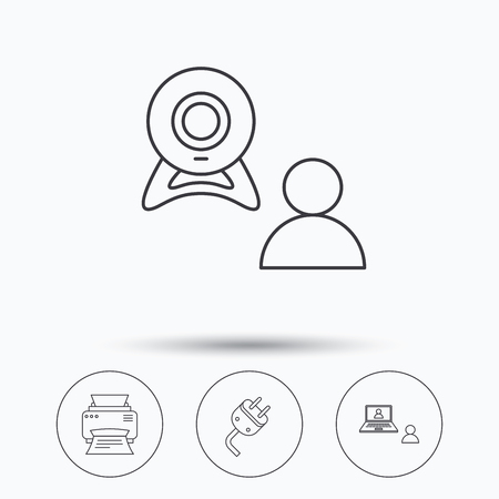 portative: Video chat, printer and electric plug icons. Video conference linear sign. Linear icons in circle buttons. Flat web symbols. Vector Illustration