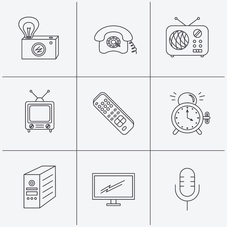 clock radio: Retro camera, radio and phone call icons. Monitor, PC case and microphone linear signs. TV remote, alarm clock icons. Linear icons on white background. Vector
