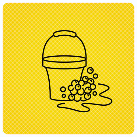 soapy: Soapy cleaning icon. Bucket with foam and bubbles sign. Linear icon on orange background. Vector