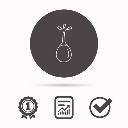 einlauf: Medical Klistier-Symbol. Enema mit Wassertropfen Zeichen. Bericht Dokument, Gewinner Auszeichnung und Zecke. Rund Kreis Schaltfläche mit Symbol. Vektor