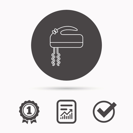 stir: Blender icon. Mixer sign. Report document, winner award and tick. Round circle button with icon. Vector Illustration
