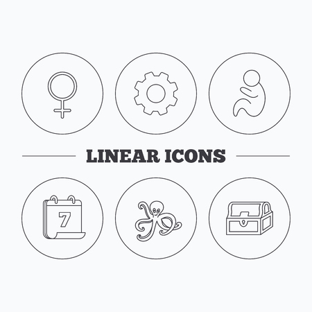 paediatrics: Female, treasure chest and pediatrics icons. Octopus linear sign. Flat cogwheel and calendar symbols. Linear icons in circle buttons. Vector