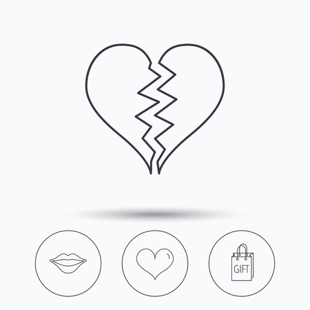 beso labios: Love heart, kiss lips and gift icons. Broken heart linear sign. Linear icons in circle buttons. Flat web symbols. Vector Vectores