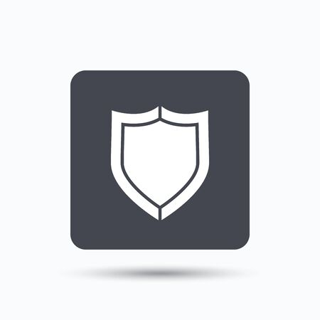 defense: Shield protection icon. Defense equipment symbol. Gray square button with flat web icon. Vector Illustration