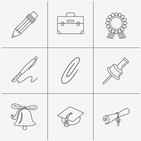 first grade: Graduation cap, pencil and diploma icons. Award medal, briefcase and bell linear signs. Pen, safety pin icons. Linear icons on white background. Vector Illustration