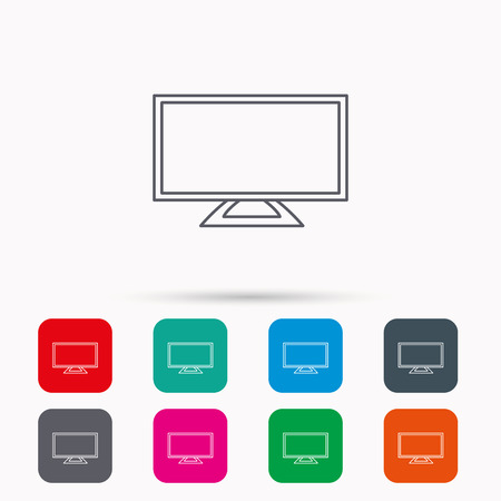 lcd display: Lcd tv icon. Led monitor sign. Widescreen display symbol. Linear icons in squares on white background. Flat web symbols. Vector