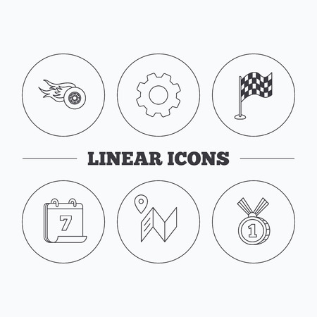 race winner: Race flag, map and winner award icons. First place medal, wheel on fire linear signs. Flat cogwheel and calendar symbols. Linear icons in circle buttons. Vector