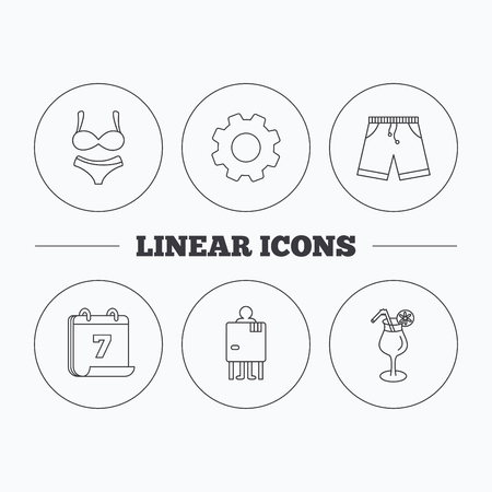 changing: Cocktail, lingerie and shorts icons. Changing cabin linear sign. Flat cogwheel and calendar symbols. Linear icons in circle buttons. Vector