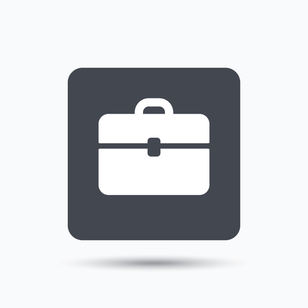 business case: Briefcase icon. Diplomat handbag symbol. Business case sign. Gray square button with flat web icon. Vector