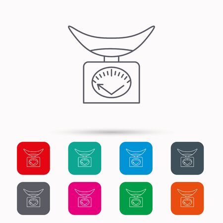 Scales icon. Kitchen weighing tool sign. Linear icons in squares on white background. Flat web symbols. Vector Illustration