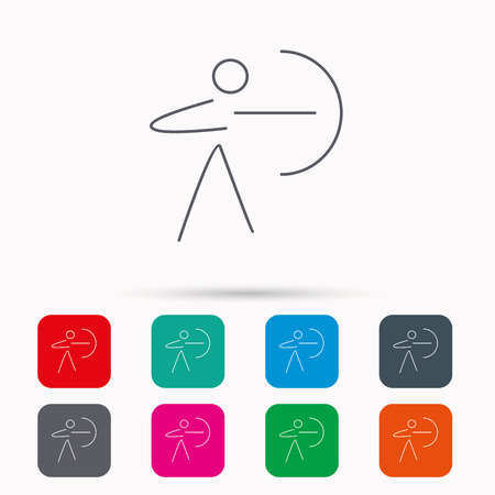 longbow: Archery sport icon. Archer with longbow sign. Aiming or targeting symbol. Linear icons in squares on white background. Flat web symbols. Vector