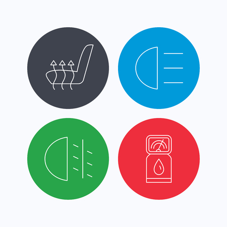 heated: Petrol station, fog lights and heated seats icons. Gas fuel station linear sign. Linear icons on colored buttons. Flat web symbols. Vector Illustration