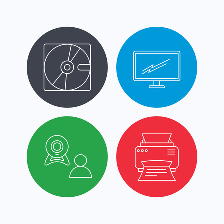 video chat: Monitor, printer and video chat icons. Hard disk linear sign. Linear icons on colored buttons. Flat web symbols. Vector
