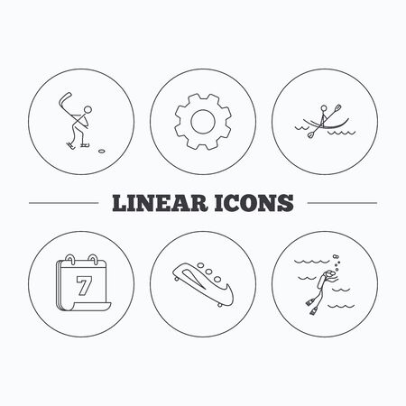 bobsled: Ice hockey, diving and kayaking icons. Bobsled linear sign. Flat cogwheel and calendar symbols. Linear icons in circle buttons. Vector