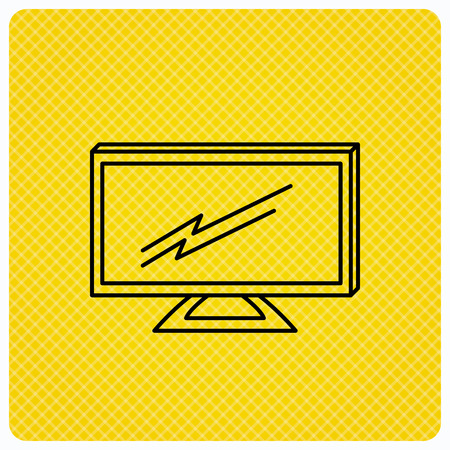 lcd tv: Lcd tv icon. Led monitor sign. Widescreen display symbol. Linear icon on orange background. Vector