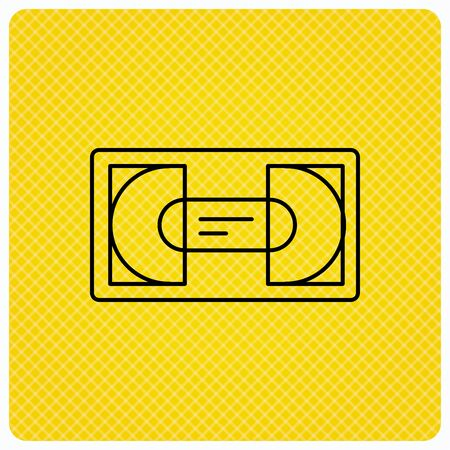 video cassette tape: Video cassette icon. VHS tape sign. Linear icon on orange background. Vector Illustration