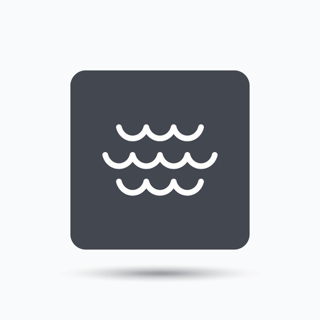 water stream: Wave icon. Water stream symbol. Gray square button with flat web icon. Vector
