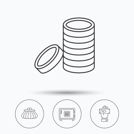 give money: Give money, cash money and wallet icons. Safe box, coins linear signs. Linear icons in circle buttons. Flat web symbols. Vector Illustration
