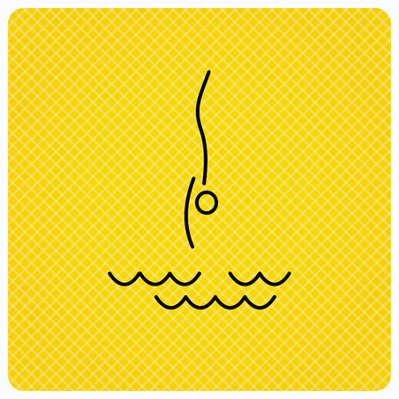 jumping into water: Diving icon. Jumping into water sign. Professional swimming sport symbol. Linear icon on orange background. Vector