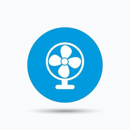 ventilation: Ventilator icon. Air ventilation or fan symbol. Blue circle button with flat web icon. Vector