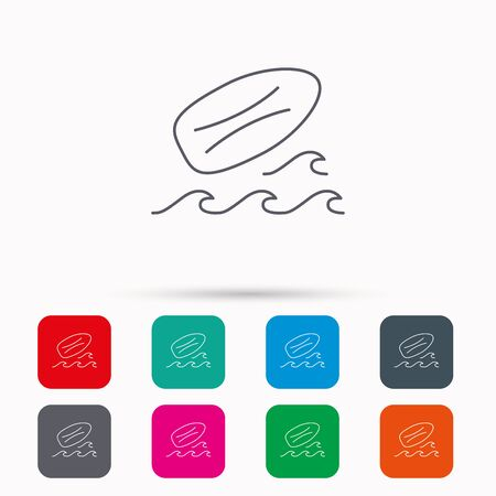 surfing waves: Surfboard icon. Surfing waves sign. Linear icons in squares on white background. Flat web symbols. Vector Illustration