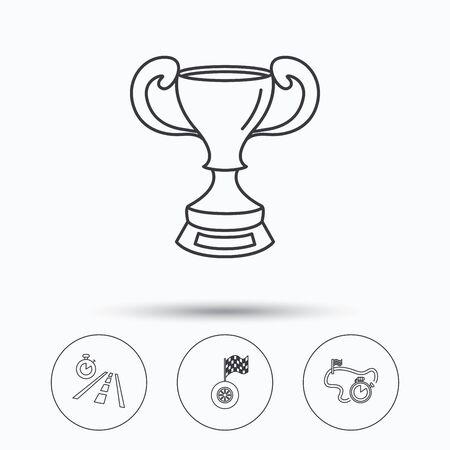 race winner: Winner cup, race timer and flag icons. Travel time linear sign. Linear icons in circle buttons. Flat web symbols. Vector Illustration