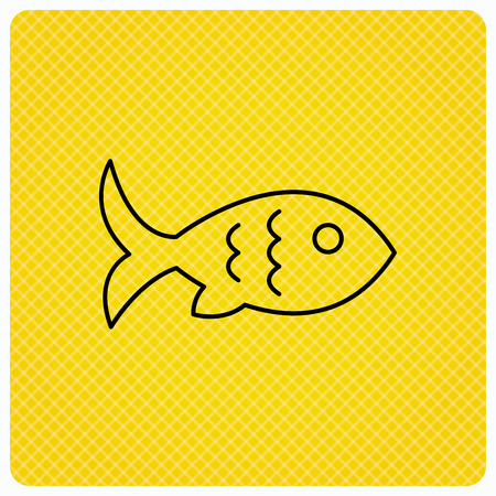 Fish with fin and scales icon. Seafood sign. Vegetarian food symbol. Linear icon on orange background. Vector Illustration
