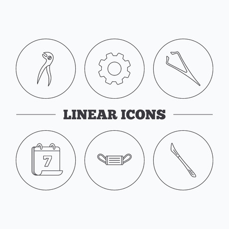 Medical mask, scalpel and dental pliers icons. Eyebrow tweezers linear sign. Flat cogwheel and calendar symbols. Linear icons in circle buttons. Vector Illustration