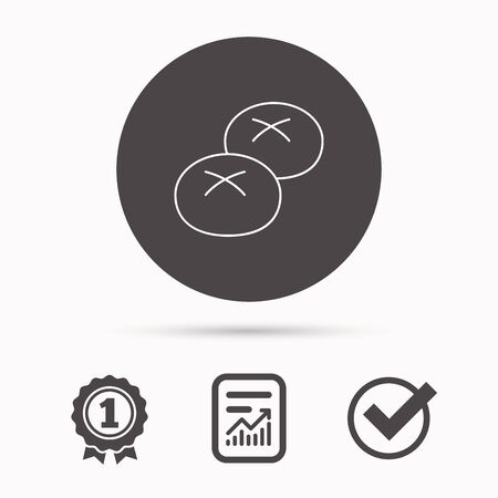 bread rolls: Bread rolls or buns icon. Natural food sign. Bakery symbol. Report document, winner award and tick. Round circle button with icon. Vector