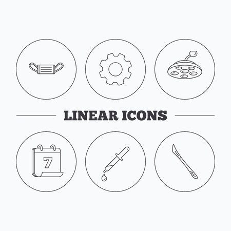 surgical mask: Medical mask, scalpel and pipette icons. Surgical lamp linear sign. Flat cogwheel and calendar symbols. Linear icons in circle buttons. Vector
