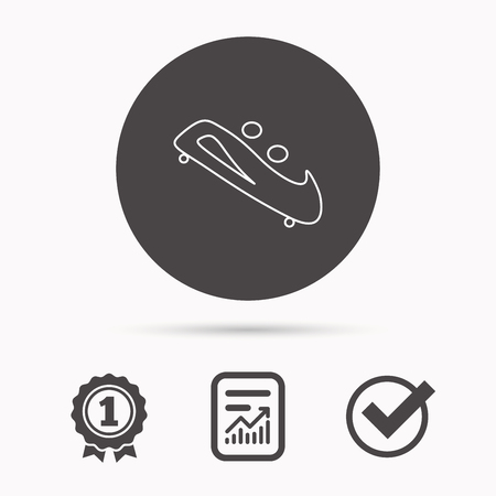 bobsled: Bobsleigh icon. Two-seater bobsled sign. Professional winter sport symbol. Report document, winner award and tick. Round circle button with icon. Vector