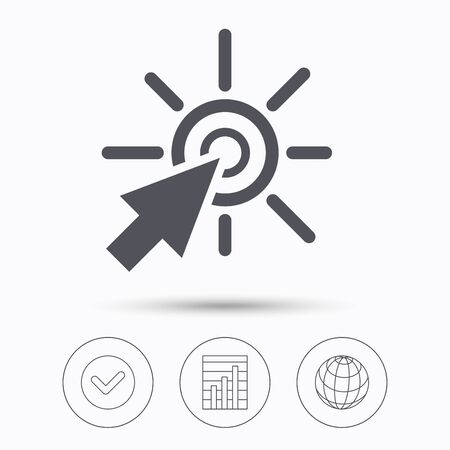 click the icon: Click icon. Computer mouse cursor symbol. Check tick, graph chart and internet globe. Linear icons on white background. Vector Illustration