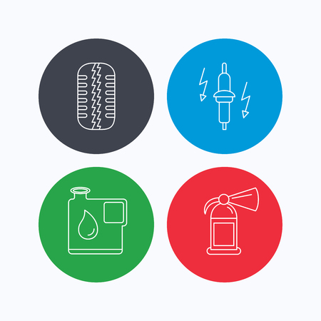 fire plug: Wheel, fire extinguisher and spark plug icons. Fuel jerrycan, tire tread linear signs. Linear icons on colored buttons. Flat web symbols. Vector