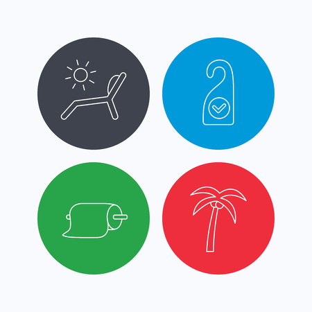 5 door: Palm tree, paper towel and beach deck chair icons. Clean room linear signs. Linear icons on colored buttons. Flat web symbols. Vector Illustration