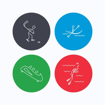 black white kayak: Ice hockey, diving and kayaking icons. Bobsled linear sign. Linear icons on colored buttons. Flat web symbols. Vector Illustration