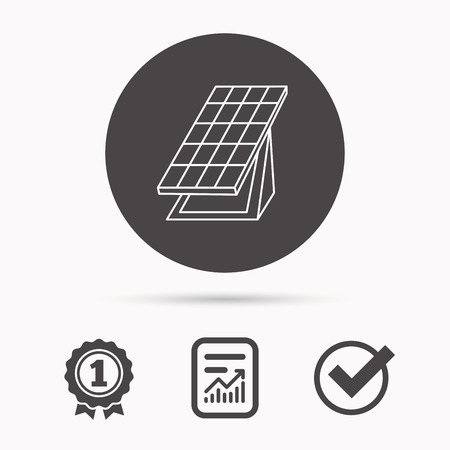 solar collector: Solar collector icon. Sunlight energy generation sign. Innovation battery power symbol. Report document, winner award and tick. Round circle button with icon. Vector