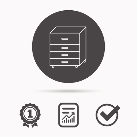 commode: Chest of drawers icon. Interior commode sign. Report document, winner award and tick. Round circle button with icon. Vector