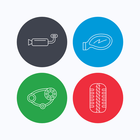 tread: Tire tread, car mirror and timing belt icons. Muffler linear sign. Linear icons on colored buttons. Flat web symbols. Vector Illustration