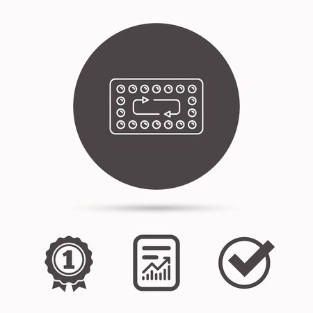 contraception: Contraception pills icon. Pharmacology drugs sign. Report document, winner award and tick. Round circle button with icon. Vector