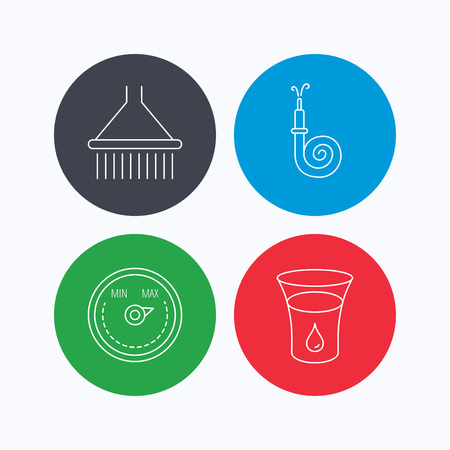 regulator: Shower, fire hose and heat regulator icons. Glass of water linear sign. Linear icons on colored buttons. Flat web symbols. Vector Illustration