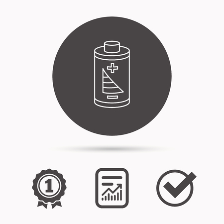rechargeable: Battery icon. Electrical power sign. Rechargeable energy symbol. Report document, winner award and tick. Round circle button with icon. Vector